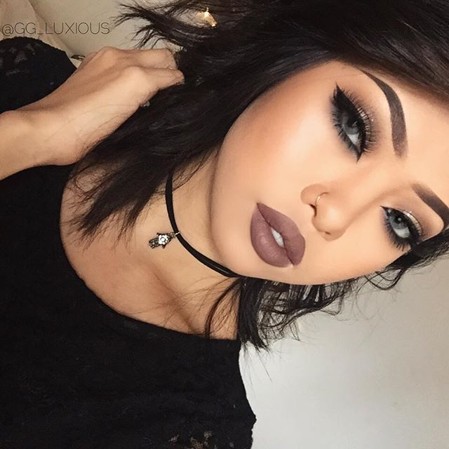 """anastasiabeverlyhills liquid lipstick in """"Sepia"""" anastasiabeverlyhills maya Mia palette shadow color in """"Deep Brown"""" """"Sienna"""" & """"Warm Taupe"""", colourpopcosmetics eyeshadow in """"Meow"""". Brows: Dipbrow pomade in """"Chocolate"""" Contacts: Solotica Natural Cristal"""