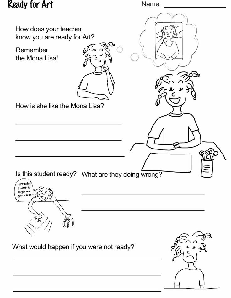 "Free worksheet download from ""Art Rules!"" a booklet that helps teach and reinforce the rules and routine in the art room.  Download ""Ready for Art!"" for free"