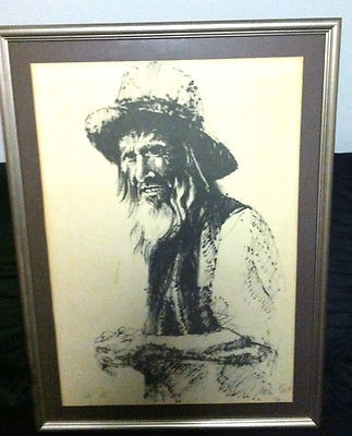 Moshe gat sighned etching Artist Proof Old Man VERY RARE