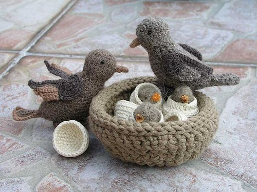 Crochet birds and their felt home   Flickr - Photo Sharing!