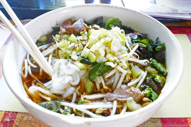 Beef Brisket Pho with Rich Beef Broth, Rice Noodles, Fresh Mint, Cilantro & Bean Sprouts. For when it's cold out.