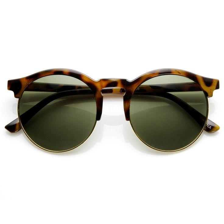 Oversize Retro Round Indie Half Frame Sunglasses 9173