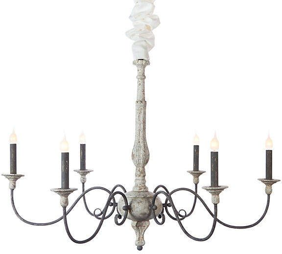 Rustic Chandelier White, Catania Vintage French Country Wood 6 Light Chandelier