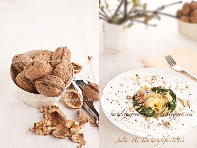 Паста или Тортеллини с соусом из шпината горгонзолы и грецкими орехами