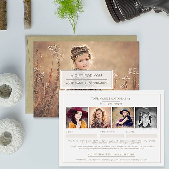 Photography Studio Gift Certificate Template by hazyskiesdesigns