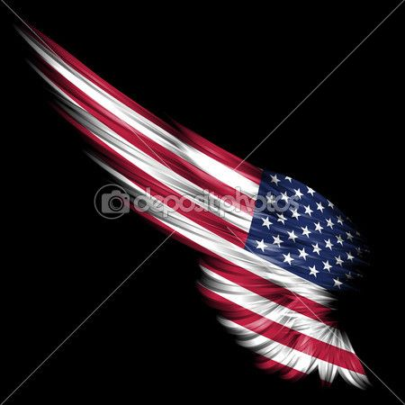 angel with american flag   Abstract wing with american flag on black background — Stock Image ...