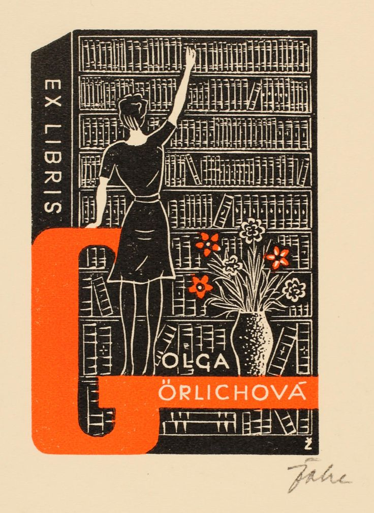 Olga Görlichova bookplate (or ex libris), by Jar. E. Zoha (1941).