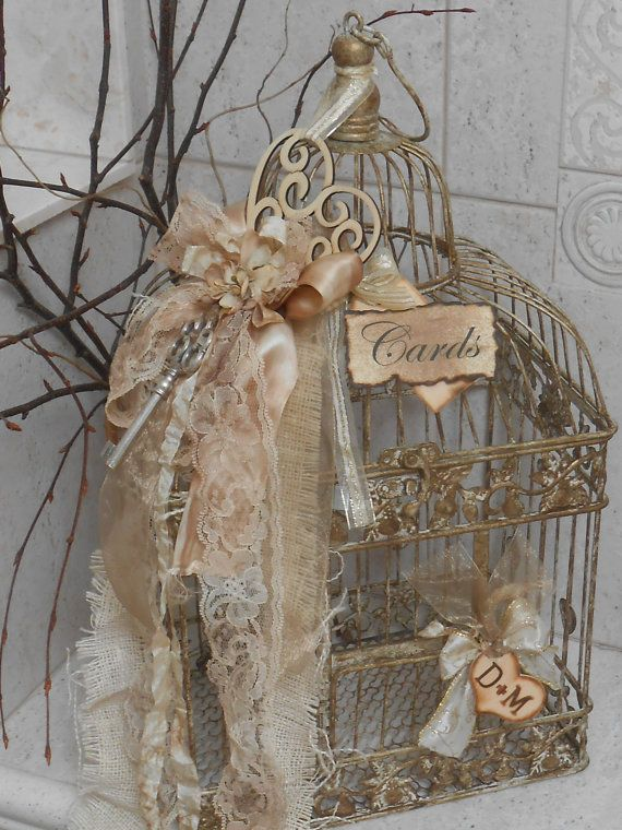 This is a ONE OF A KIND shabby/vintage inspired birdcage wedding/event cardholder.    This piece has been hand painted in rich shades of gold and