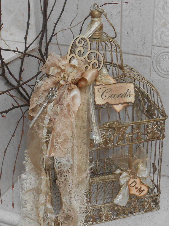 Wedding Card Box / Birdcage Cardholder / Vintage Wedding / Shabby Wedding / Shabby Birdcage / Victorian Wedding