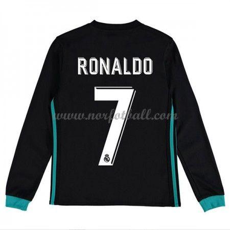 Billige Fotballdrakter Real Madrid Barn 2017-18 Cristiano Ronaldo 7 Borte Draktsett Fotball Langermet