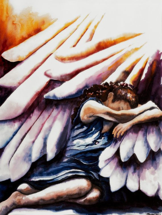 Shadow of His Wings Psalm17 Watercolor by MaureensWatercolors, $20.00