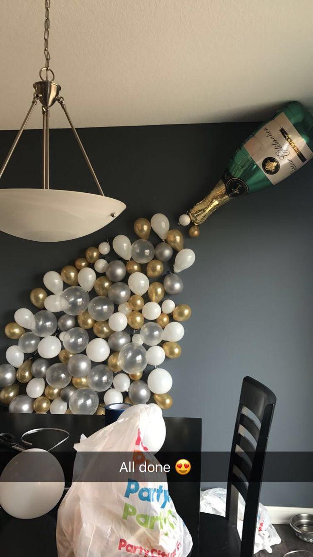 Pop fizz clink champagne balloon bachelorette bridal for Champagne balloon wall