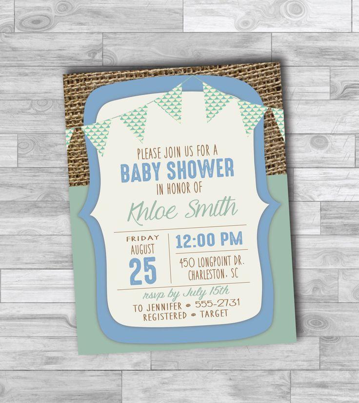 boy baby shower invitations australia%0A Digital Baby Shower for Boy  baby shower invitation  blue and teal  banner   baby banner  burlap invitation  coed baby shower