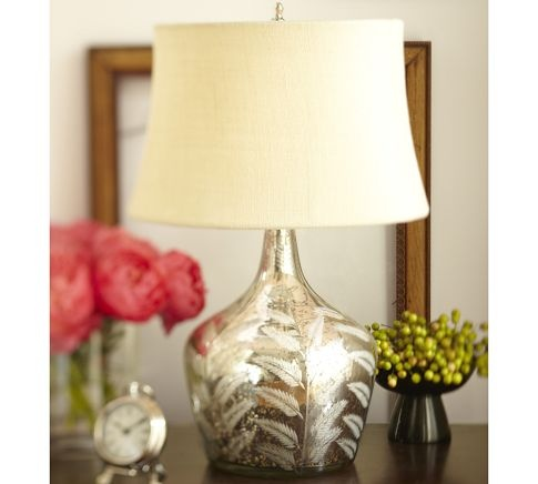 Etched Fern Mercury Glass Table Lamp Via Pottery Barn