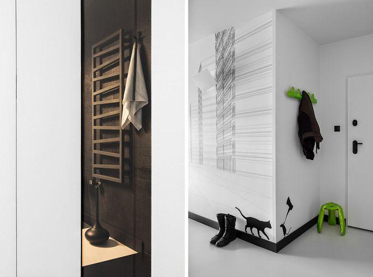 Jurnal de design interior - Amenajări interioare : Alb, negru și galben într-un apartament minimalist