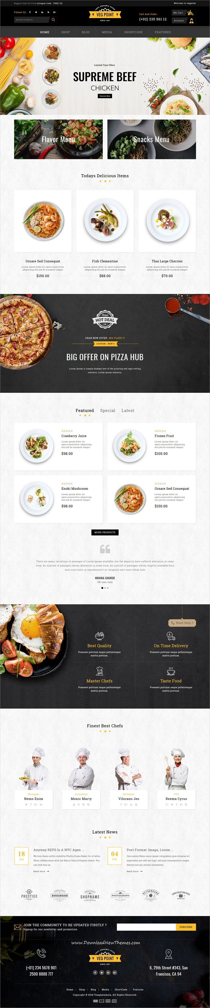 Veg Point is clean and modern design 3in1 responsive #WooCommerce #WordPress theme for #food, #restaurant, vegetable and cake #shop eCommerce website to live preview & download click on Visit