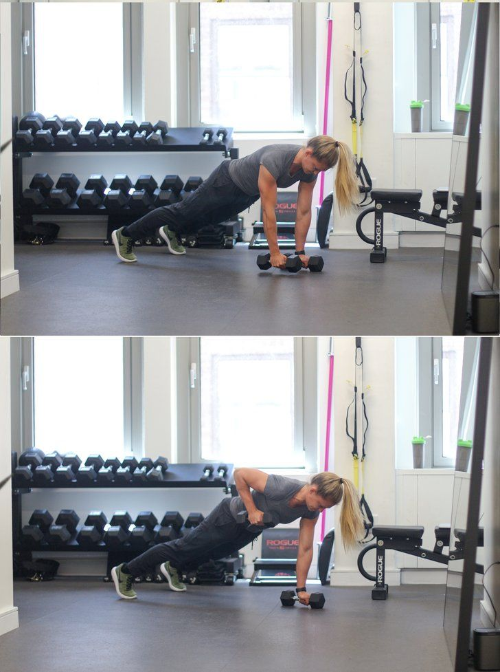 Start in high plank, each hand holding onto a dumbbell that is resting on the floor. Move feet wider than shoulders. Pull right elbow back, raising dumbbell