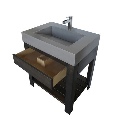 """The Trueform Concrete 30"""" Lavare Vanity with Concrete Ramp Sink & Drawer is a custom modern sink with contemporary features for the bathroom, or powder room. Wharton, New Jersey. Vanity top integral sink with base.  Concrete shown in Graphite / Base in Espresso"""