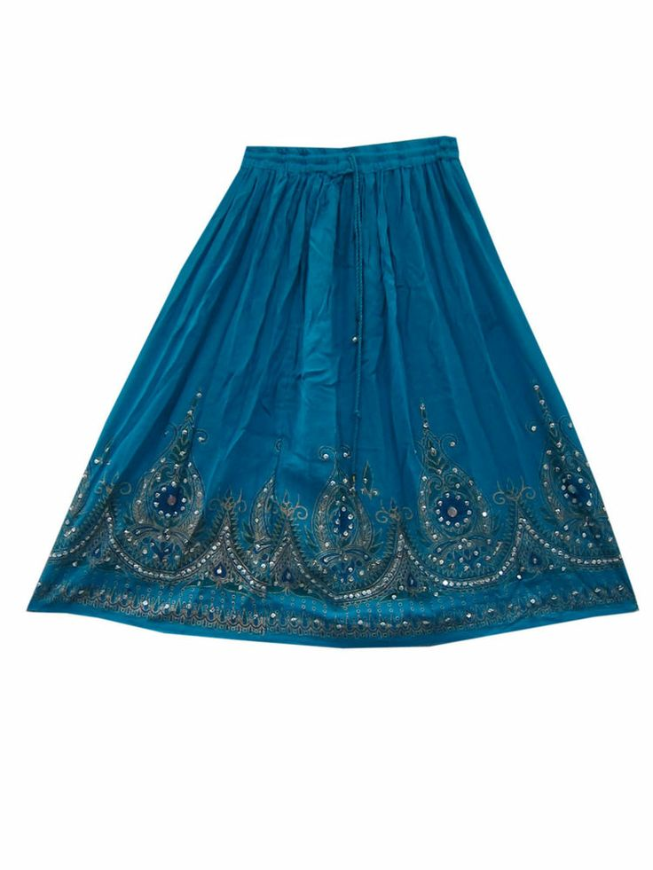 Sequin Hand Work Mid Skirt Teal Blue Rayon Boho Hippie Skirts