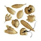 Esther Large Brass Foliage Decorative Dishes - Set of 10 - Transitional - Serving Trays - by Kathy Kuo Home