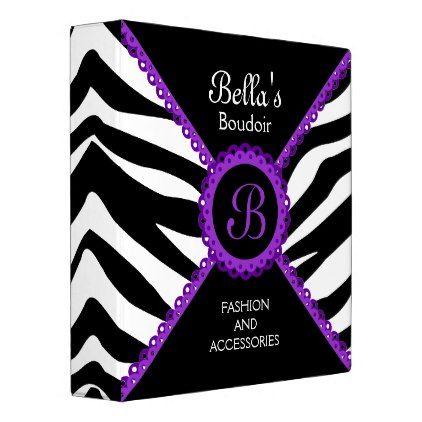 #monogrammed - #Zebra Print Purple Lace Monogram 1.5 Inch Binder