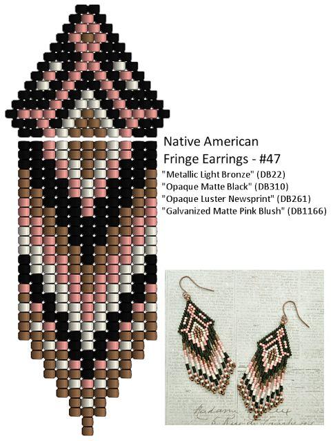 Linda's Crafty Inspirations: Native American Fringe Earrings #47 - Pink & Black