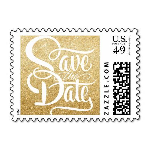 SAVE THE DATE Gold glitter, retro typography postage stamp.  50th wedding anniversary postage idea.  Golden annniversary. => http://www.zazzle.com/gold_glitter_retro_typography_save_the_date_stamp-172732127679858941?CMPN=addthis&lang=en&rf=238590879371532555&tc=pin50thideasGoldGlitterRetroSavetheDate