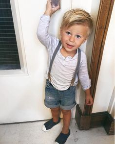 Toddler Style: Denim shorts with suspenders and Henley
