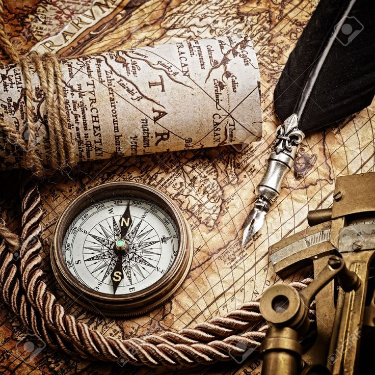 …Vintage Map with Astrolabe Compass and Navigation ...
