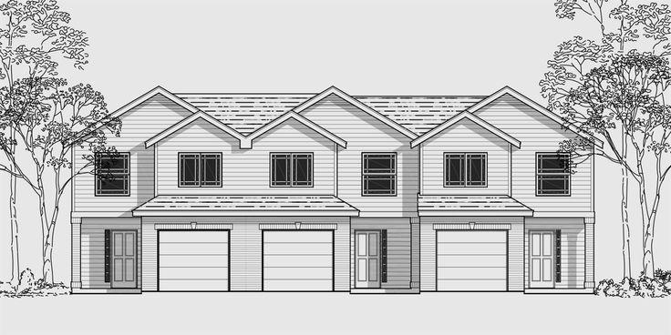 House Front Color Elevation View For D 481 Triplex Multi
