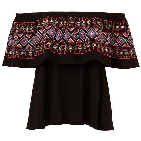 AZTEC EMBROIDERED OFF SHOULDER TOP ($50) ❤ liked on Polyvore featuring tops, aztec-print tops, embroidered top, embroidery top, off the shoulder tops and cotton jersey