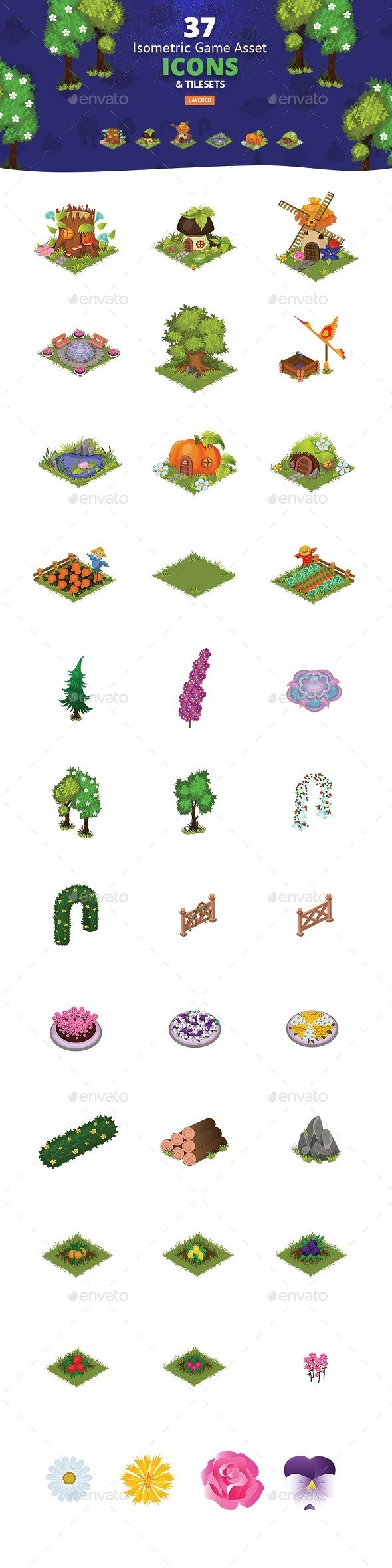 Royalty Free Map%0A Isometric Tileset Map Vector Icons