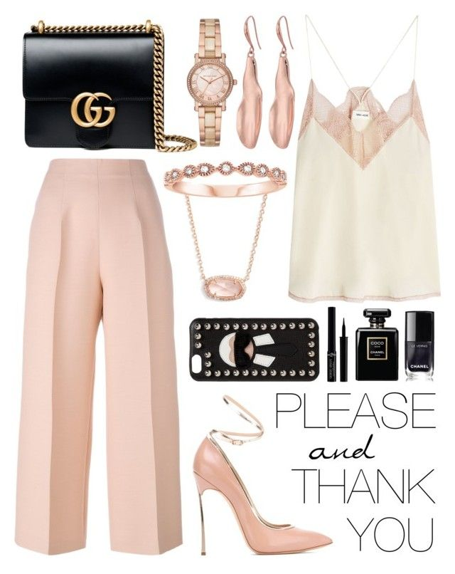 """* blush *"" by chassidys ❤ liked on Polyvore featuring Kendra Scott, Zadig & Voltaire, Fendi, Casadei, Gucci, Robert Lee Morris, Michael Kors, Giorgio Armani and Chanel"