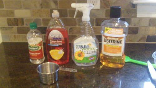 DIY Bug killer - soap, vinegar, mouthwash.  It really does work!  I tried it on mosquitos so far and they drop immediately!  whoo-hoo