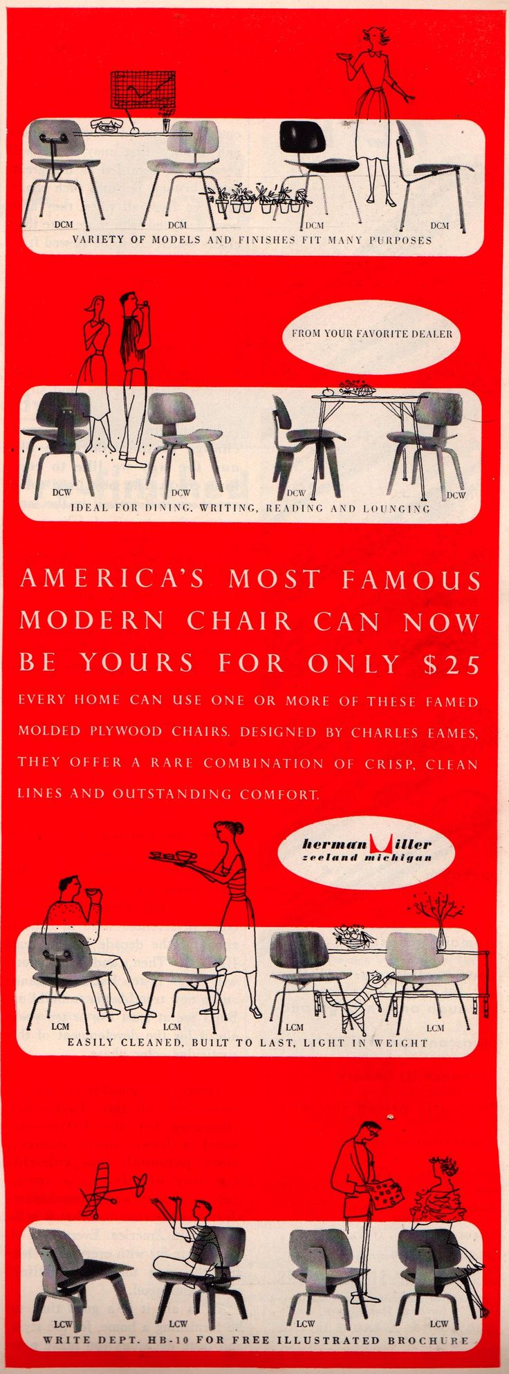 Herman Miller ad c.1952Print Ads, Chairs Heavens, Miller Ads, Modern Chairs, Eames Chairs, Graphics Historical, Charles Eames, Ray Eames, Herman Miller
