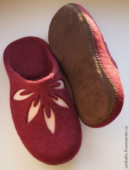 """Обувь ручной работы. Ярмарка Мастеров - ручная работа Валяные тапочки """"Коронованные листья"""". Handmade."""