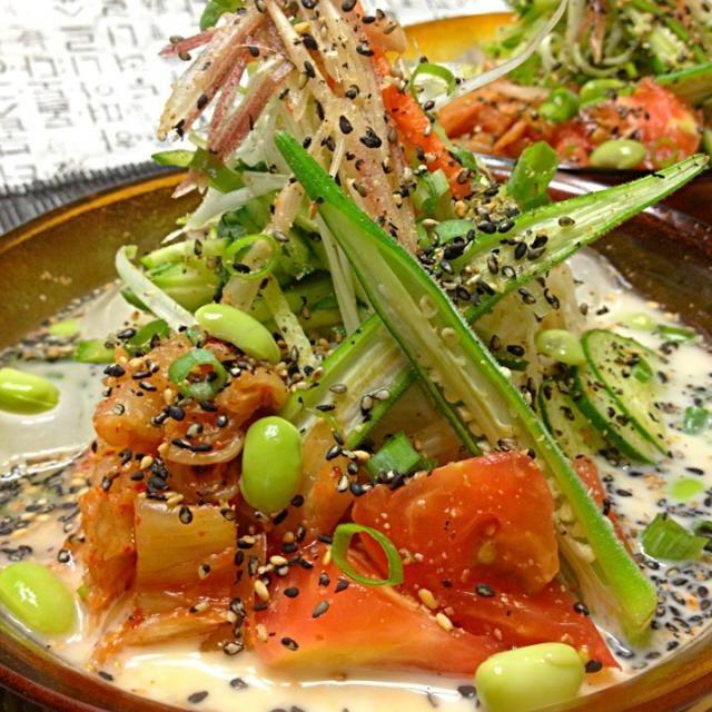 mizuhoさんのが美味しそうだったので、久しぶりに作りました( *´艸`)夏はあっさり栄養満点で美味しいです♪ - 241件のもぐもぐ - コングクス콩국수(冷製豆乳そうめん) by chinmi