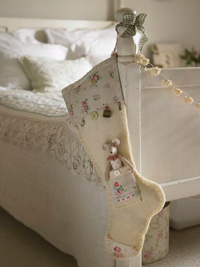 Shabby chic Christmas stocking. http://www.annabelchaffer.com/categories/Childrens-Gifts/
