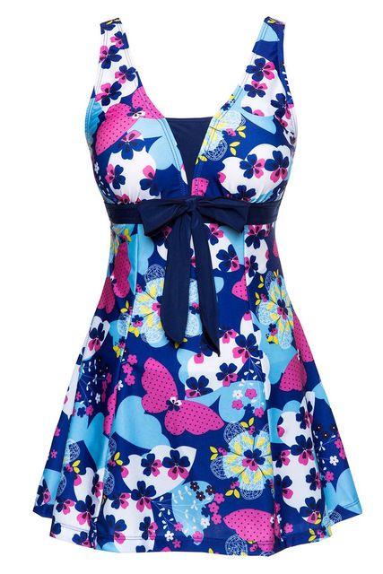 Super vente de Femmes Mince Coupe Papillon D'une Seule Pièce Push Up Maillot de Bain Robe Maillots De Bain Marine bleu