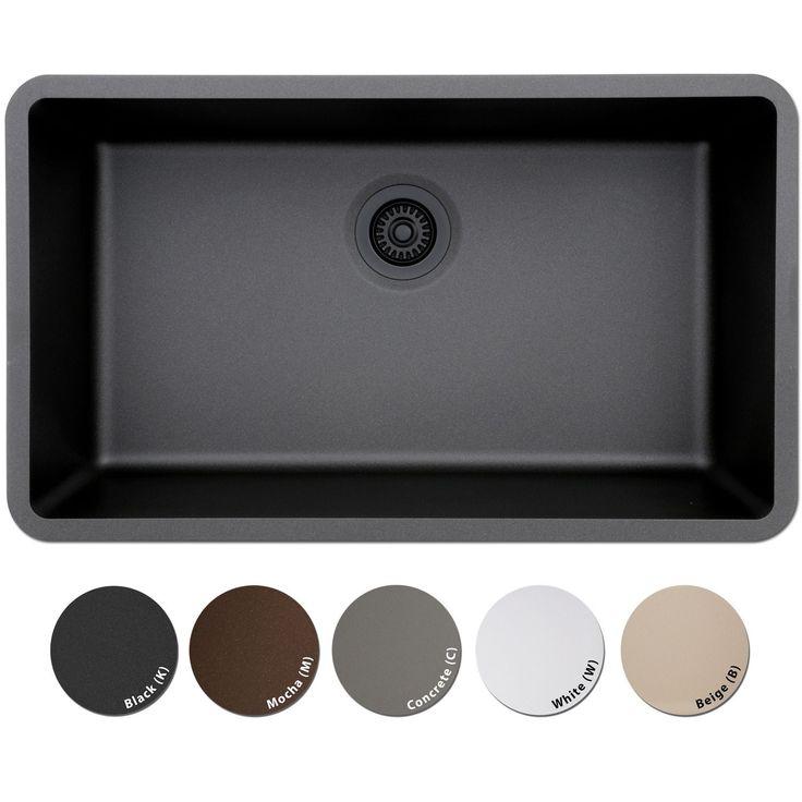 Lexicon Platinum Quartz Composite 32x19-inch Kitchen Sink with Large Single Bowl (White - White Finish)