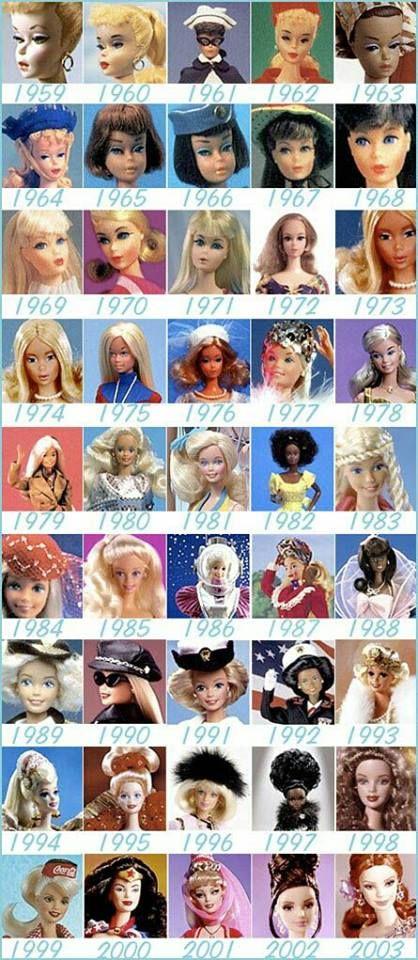 Barbies door de jaren heen. Echt leuk.