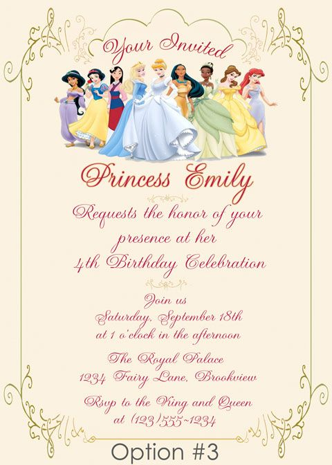 25 best ideas about Princess birthday invitations – Invite a Princess to Your Party