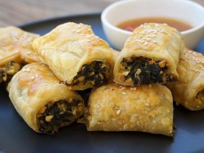 Spinach, Pumpkin and Feta Rolls recipe