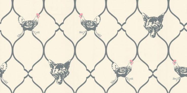 Fox & Hen Charcoal (BG0900102) - Barneby Gates Wallpapers - An all over wallpaper featuring a trellis design with motif's of foxes and hens. Shown here in charcoal and parchment, with highlights of pink. Other colourways are available. Please request a sample for a true colour match.