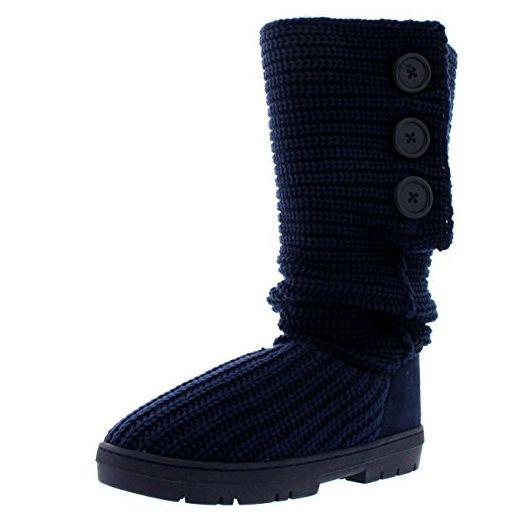 Damen Toggle Knitted Cardy Classic Pelz Gefüttert Winter Schnee Regen Stiefel - Marine Gestrickt - NAK40 AEA0342 - Stiefel für frauen (*Partner-Link)