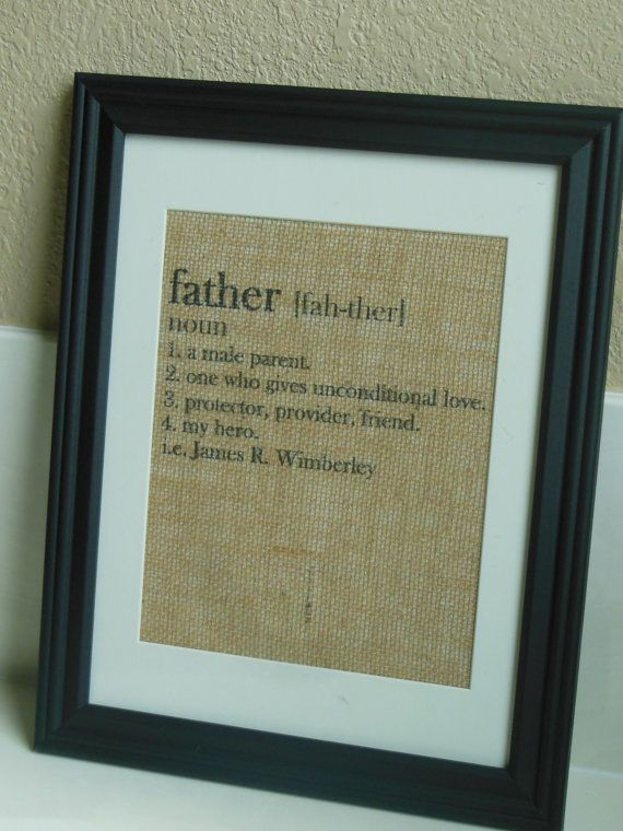 Father's Day gift Burlap print - Personalized Gift / Present for Dad - Definition of a Father on Etsy, $25.00