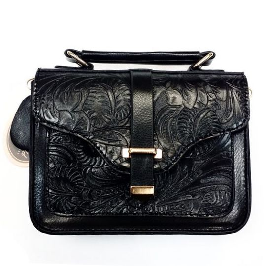 $29.99 - Mellow World Collection: Small Black Detailed Over-the-Shoulder Purse. Adjustable and easy to take off strap with gold magnetic snap buckle to keep the purse closed and secure. #leather #gold #purse #BellaDonna #Kitchener #Canada