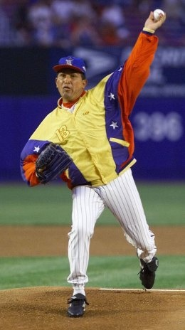 Venezuelan President Hugo Chavez throws out the ceremonial first pitch before the game between the New York Mets and the Toronto Blue Jays at Shea Stadium in New York