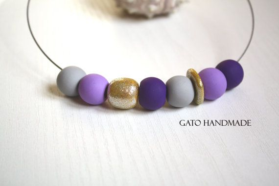 Unique handmade purple necklace/Handmade purple by GATODesign