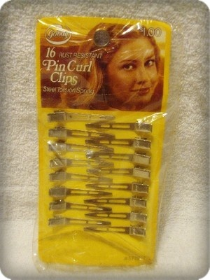 Vintage 70s Pin Curl Clips 16 NOS Steel Spring Hair Style